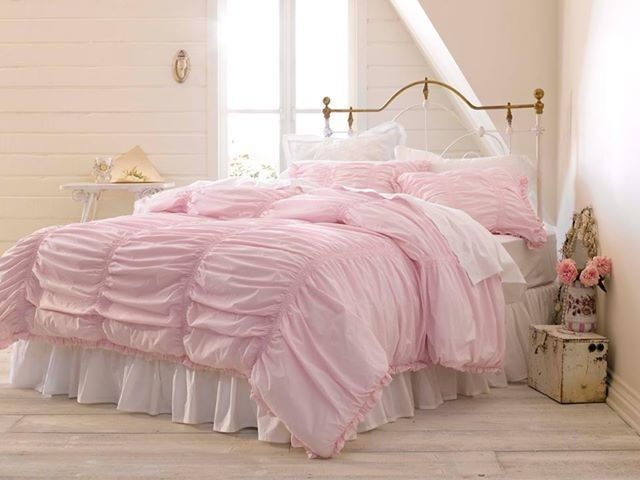 NIB Simply Shabby Chic Rouched 3 Piece Pink Full Queen Comforter Set Shabb