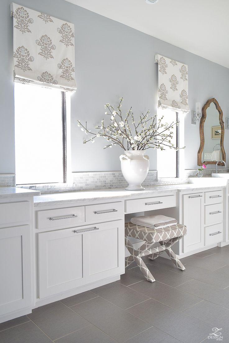 Faux Roman Shade Details white luxury master bath white carrara marble white shaker cabinets benjamin moore silver lake-1