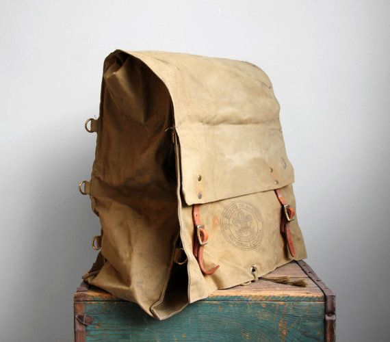 I love vintage bags. Etsy listing at https://www.etsy.com/listing/225195534/vintage-canvas-and-leather-boy-scout