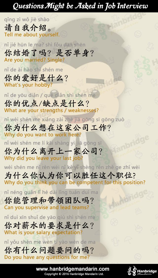 Chinese questions might be asked in job interview.