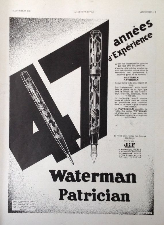 Waterman fountain pen advert 1930 poster Art Deco french