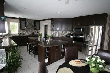 17 best images about contemporary kitchens on pinterest for Chocolate kitchen cabinets with stainless steel appliances