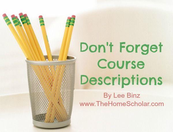 how to write course descriptions homeschool