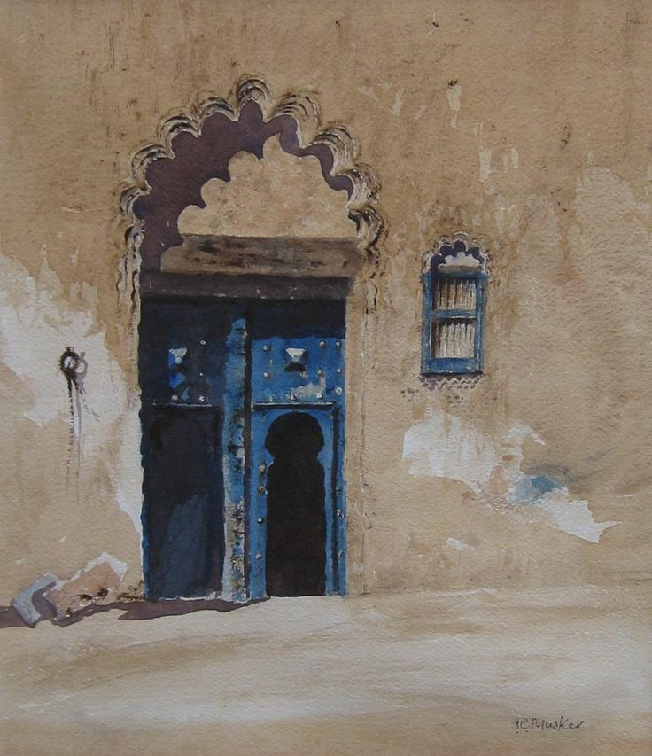 A Moroccan Doorway in the Suq  Watercolour : 35 x 30 cm Signed