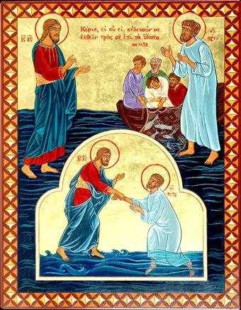 "Icona ""Pietro cammina sulle acque (Mt 14,28-29)"""
