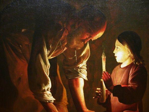 Georges de la Tour - St Joseph charpentier -  Distribution très contrastée de la lumière, de l'ombre et des demi-teintes dans une peinture. On nomme aussi clair-obscur les parties d'ombre pénétrées de lumière.  C'est une technique de peinture très utilisée par les peintres de la Renaissance à la période Baroque, et  mise au point par le Caravage (1573-1610) et utilisée par Rembrandt, de la Tour, etc.. La partie du tableau que le peintre veut mettre en valeur est traitée avec des couleurs…