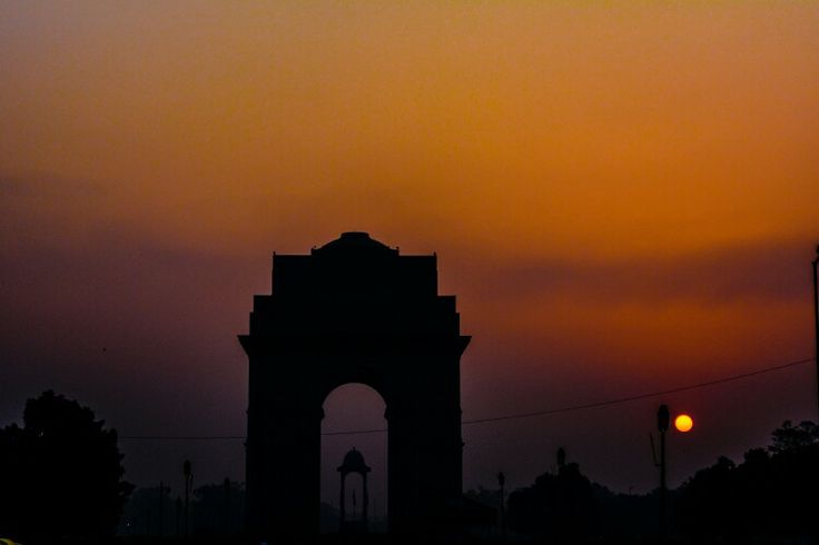 India gate at sunset in new Delhi india
