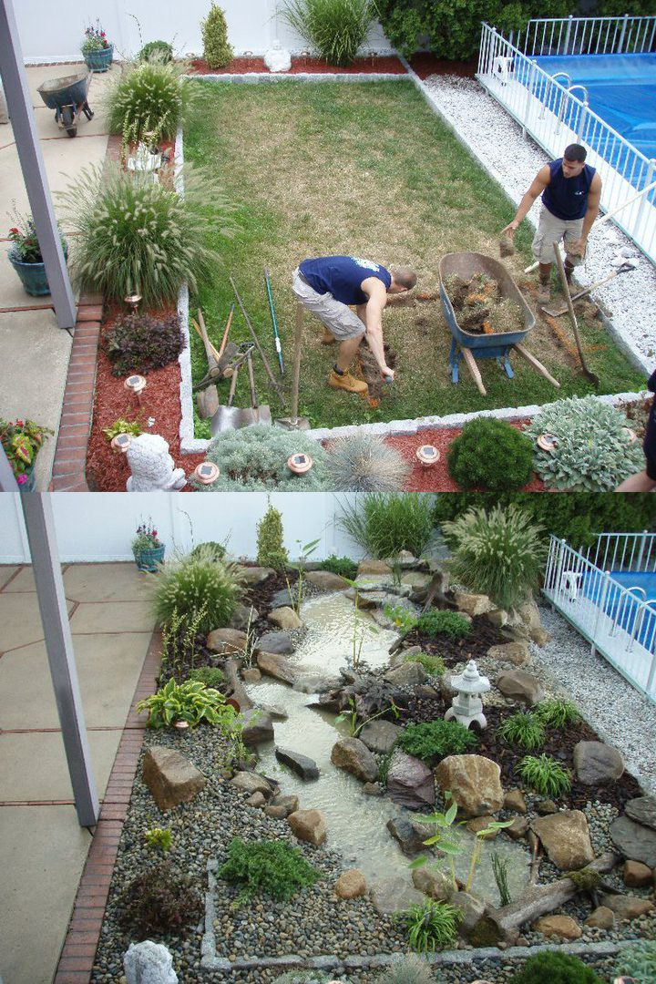 Transformation by Atlantis Water Gardens in Rockaway, NJ. | Before and After | Water garden, Pond maintenance, Ponds backyard