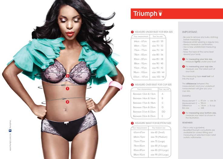 check our size chart and size-up before you hit the lingerie department to ensure you buy the right size bras and bottoms...