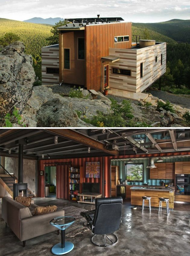 Colorado Shipping Container Home.  Original structure with two shipping containers added to each side.