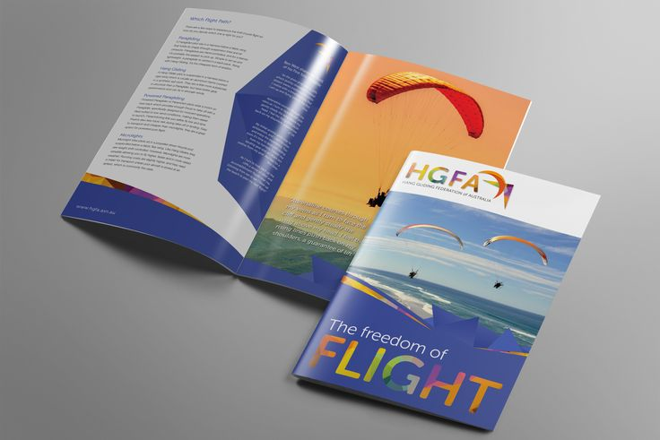 Brochure & Logo design for the Hang Gliding Federation of Australia... the freedom of pure flight... makes me want to fly like a bird!