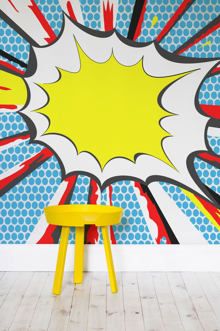 Splash some colour into your home with this energetic and fun retro wallpaper mural. Imagine what a fun and lively atmosphere this wallpaper design would bring to kid's playrooms and retro interiors. It's perfect for pop-art lovers and adds heaps of personality to your home.