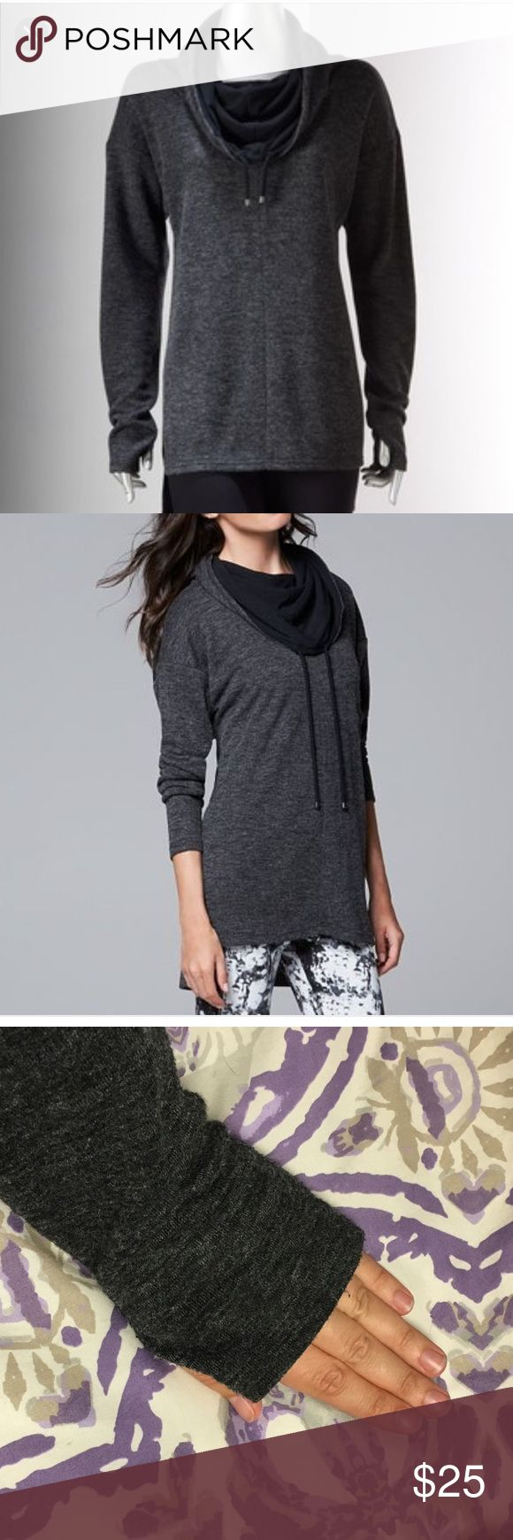 Simply Vera Vera Wang Cowl Neck Sweatshirt Amazing dark grey Simply Vera Vera Wang cowl neck sweatshirt. Only worn a few times. Super comfy! Love the thumb holes. Cozy and fashionable at the same time! Size Large, runs a little large Simply Vera Vera Wang Tops