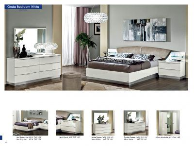 largest bedroom sets collection wave shaped chromed handles character the distinctive design of the onda modern bedroom set in high gloss white