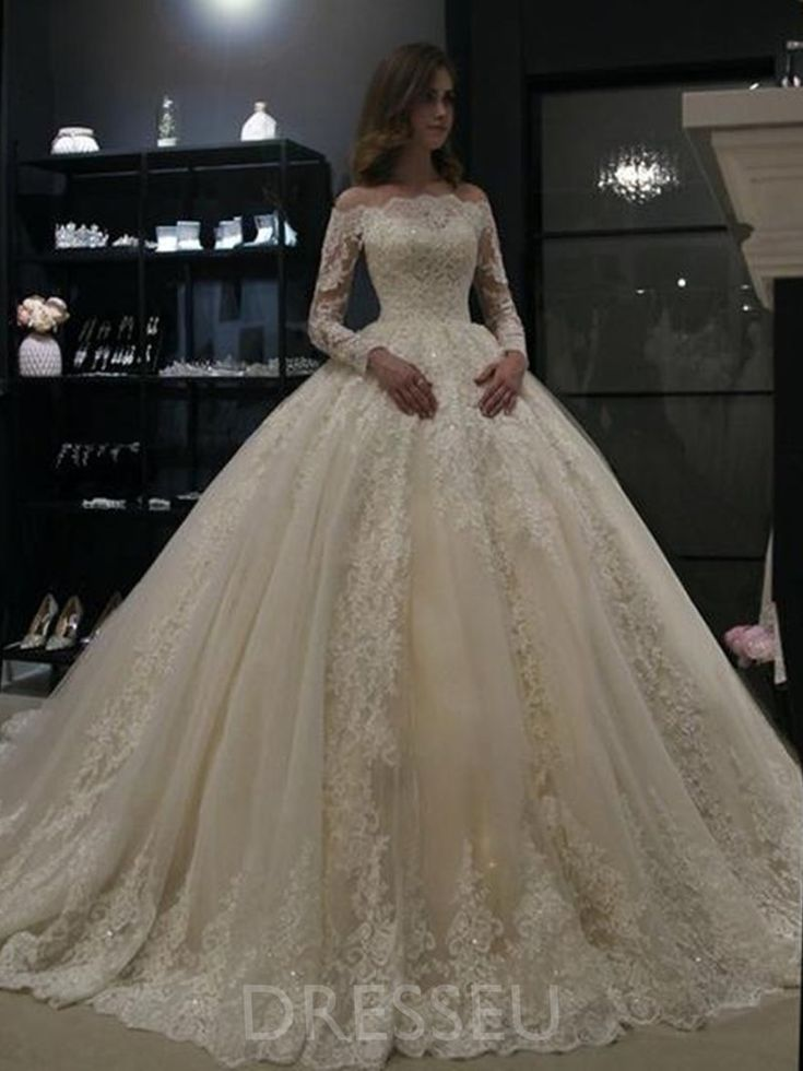 Off-The-Shoulder Floor-Length Ball Gown Long Sleeves Church Wedding Dress