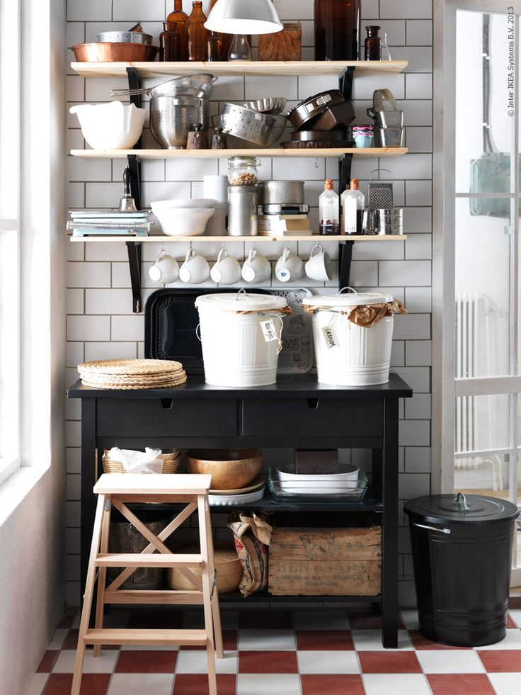 Norden kitchen cart, Bekvam stepstool, ekby trygvve shelving with ekby valter brackets and Knodd trash cans and allllll the accessories!