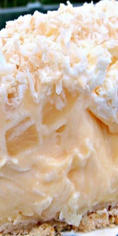 Tropical Coconut Pie - It is so creamy and has a rich coconut flavor, laced throughout with juicy pineapple chunks and a crispy pie crust.