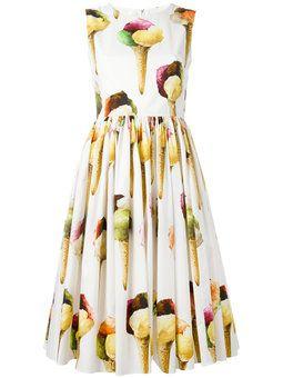 Vestido plissado com estampa de sorvete