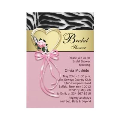 Black Gold Zebra Pink Zebra Bridal Shower Personalized Invites by InvitationCentral