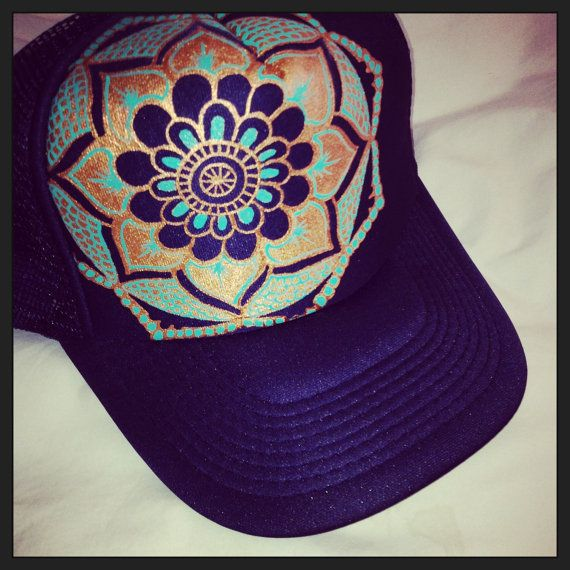 Navy blue trucker with hand painted mandala by TaraBouchard
