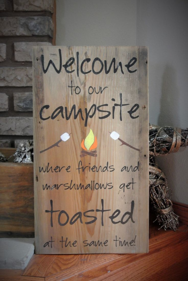 Friends and Marshmallows Get Toatsed Barn Board Sign for your Campsite - Campsite Decorations by KACountryDecor on Etsy https://www.etsy.com/listing/200516860/friends-and-marshmallows-get-toatsed