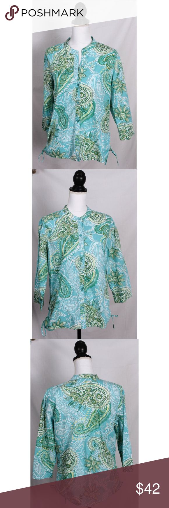 Print Top in blue green Caribbean Joe offers relaxing clothing to put you in the vacation state of mind.   Machine Wash Tumble Dry Low 100% Cotton Imported Print  3/4 Sleeve Caribbean Joe Tops Blouses
