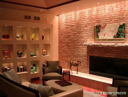 wall accent lighting. Concept: Full Panelled Fireplace Wall With Hidden Accent Lighting. Lighting