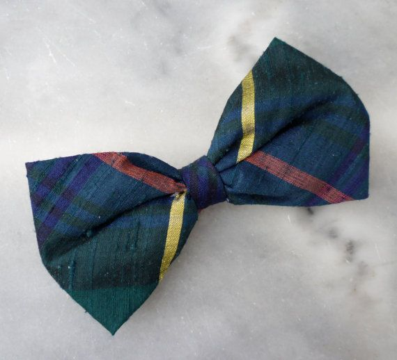 Green and Blue Silk Plaid Bow Tie for boys by DivineDomestication