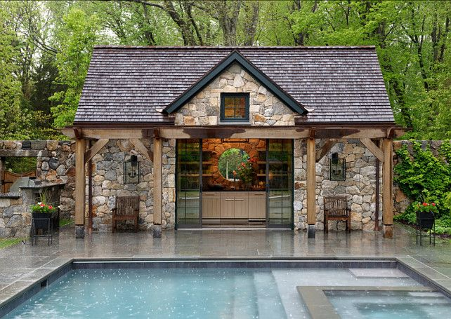 Pool House Ideas pool housebar with counter stools sofa area tv and Pool House Brooks And Falotico Associates Inc Could Use This For