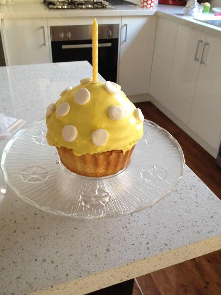 #giant cupcake #1st birthday #madebyme #banana cake #fun #yellow #dots #spots #winnie the pooh theme #smash cake