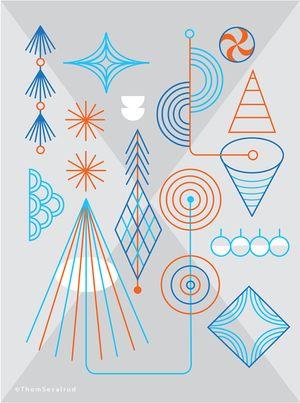 Ornaments illustration by ©Thom Sevalrud. Represented by i2i Art Inc. #i2iart