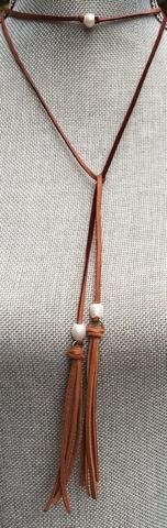 """Leather choker with fresh water pearl 16"""""""