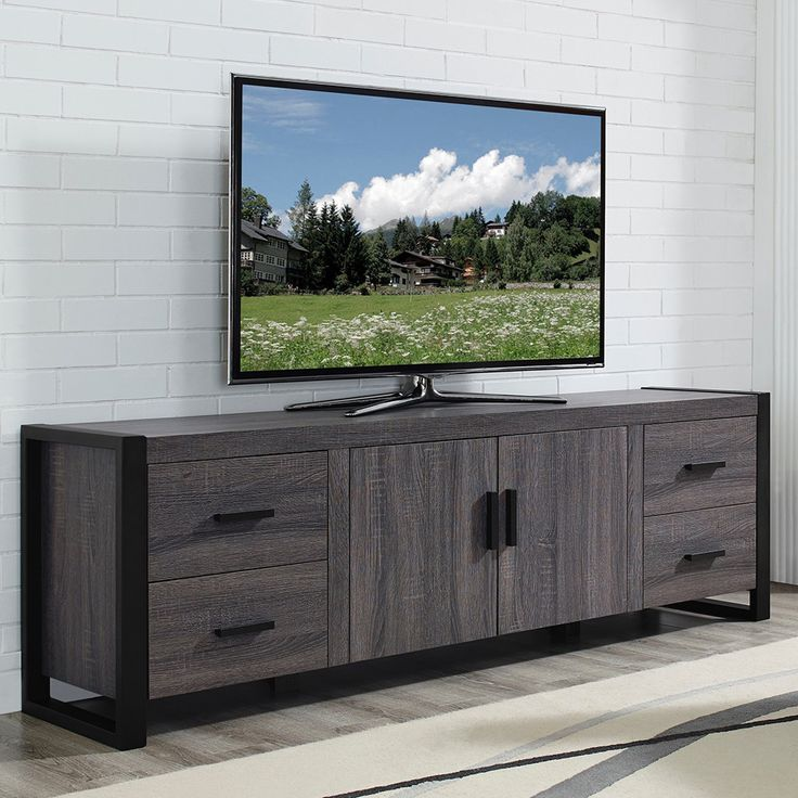 70 inch charcoal grey tv stand flat panel tv and media storage. Black Bedroom Furniture Sets. Home Design Ideas