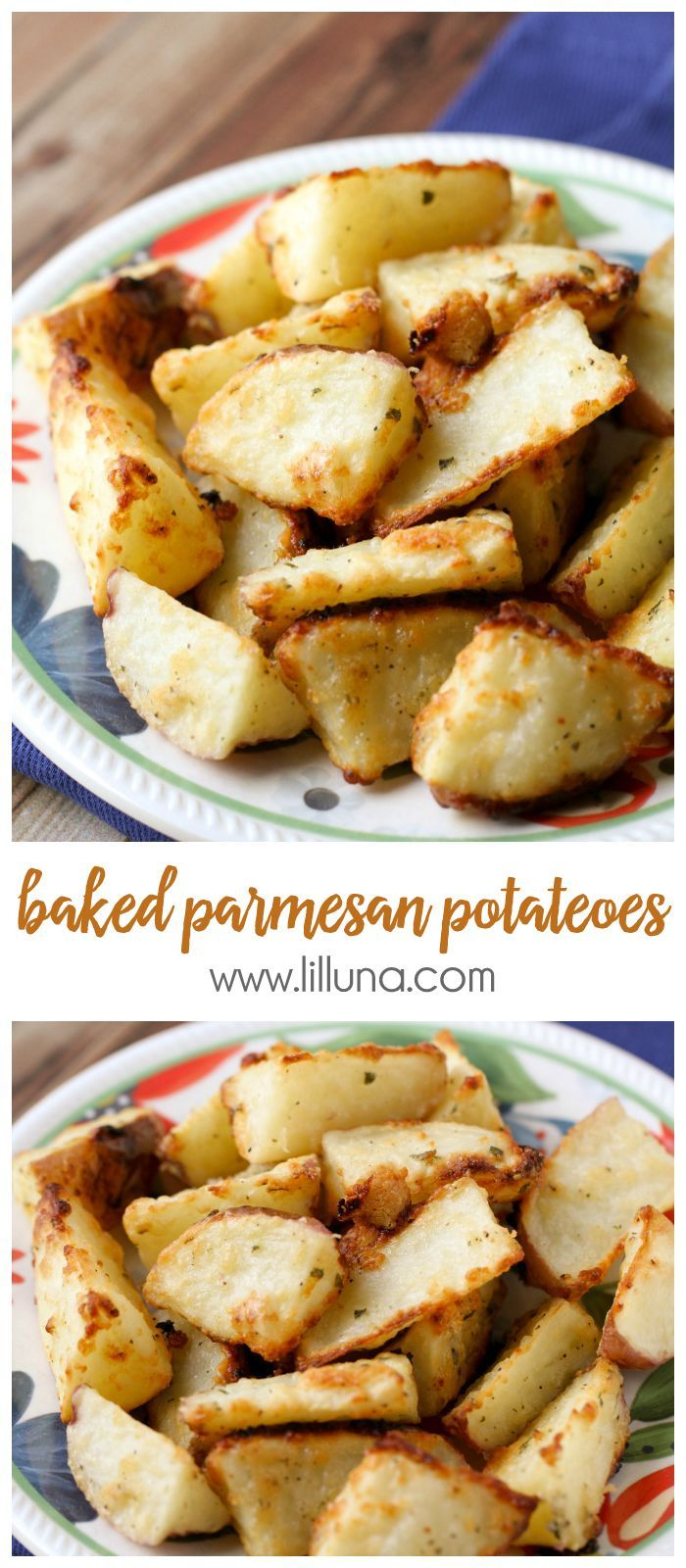 Simple and Delicious Baked Parmesan Potatoes recipe - the PERFECT side dish! { lilluna.com }