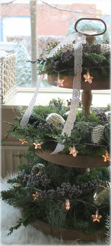 (̏◕◊◕)̋  a little greenery, some lights and spray painted pine cones or a 3 tiered stand. simple centerpiece.