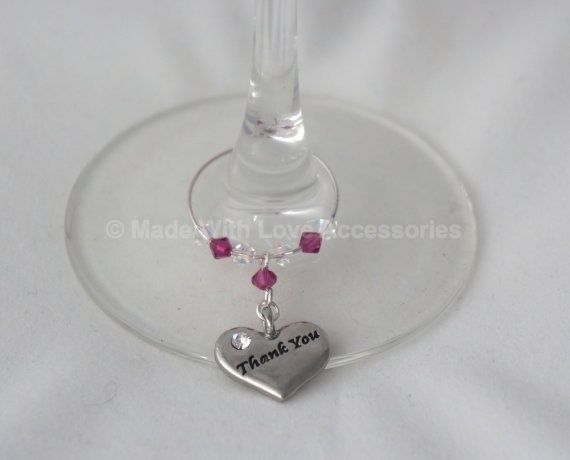 Thank you Wine Glass Charm - Wedding Favours - Teacher Thank you Gifts -  £5.50