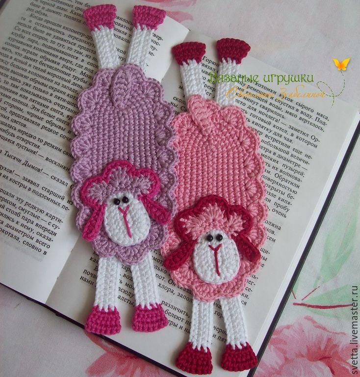 """Купить """"Разноцветные овечки"""" вязаные закладки - закладка, вязаная закладка, закладка для книги, авторская работа"""
