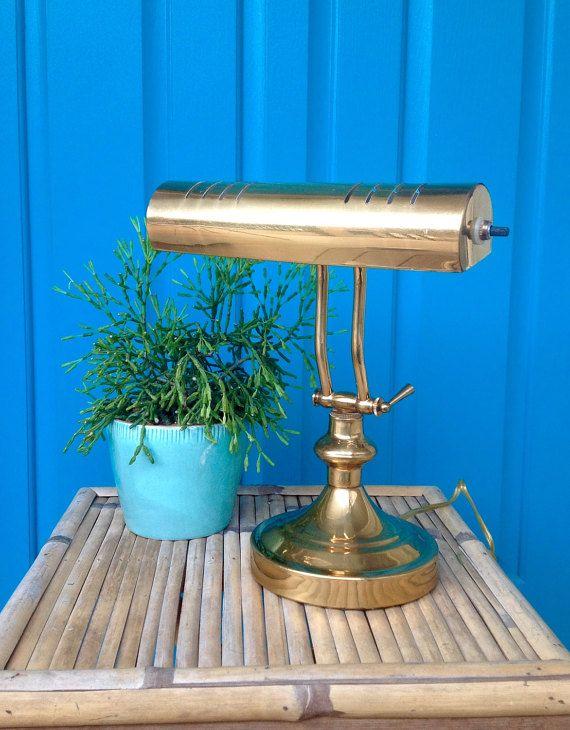 FREE SHIPPING-Vintage Mid Century Brass Desk by ellansrelics02