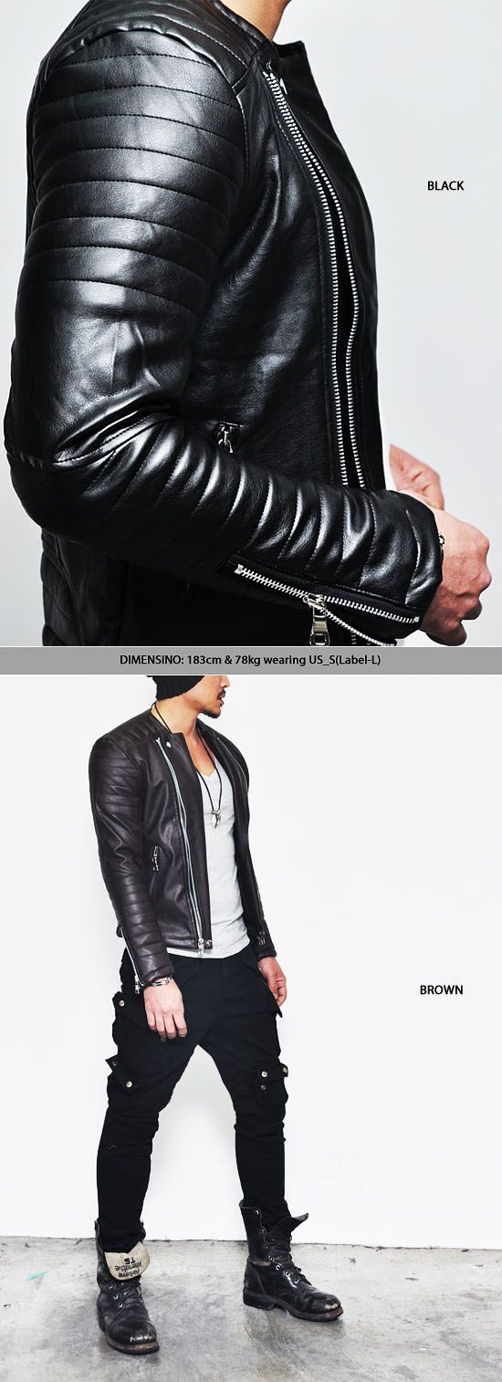 Outerwear :: Leather Jackets :: Padded Seaming Shoulder Leather Biker-Leather 49 - Mens Fashion Clothing For An Attractive Guy Look