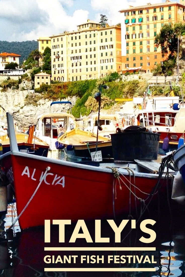 Beautiful Camogli on Italy's Portofino coast is home to a giant frying pan the icon of it's annual fish festival.