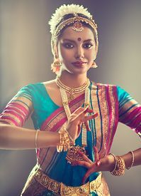 picture of bharatanatyam - Beautiful indian girl dancer of Indian classical dance bharatanatyam  - JPG