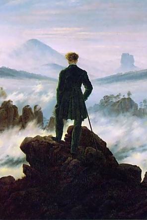 Caspar David Friedrich  Viandante sul mare di nebbia  1818, Amburgo, Kunsthalle  Olio su tela- 98 x 74 cm