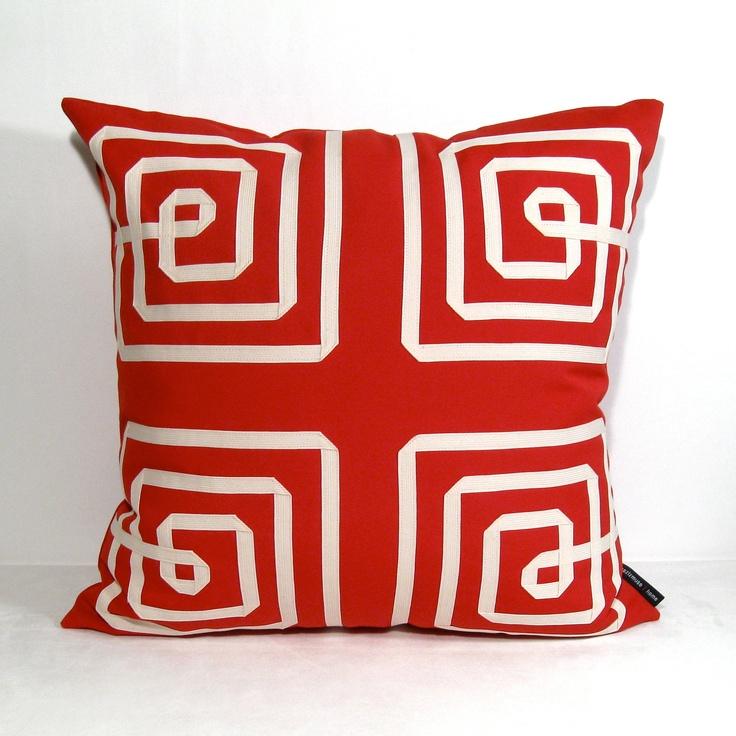 pair two red pillow cover decorative sunbrella outdoor cushion cream geometric