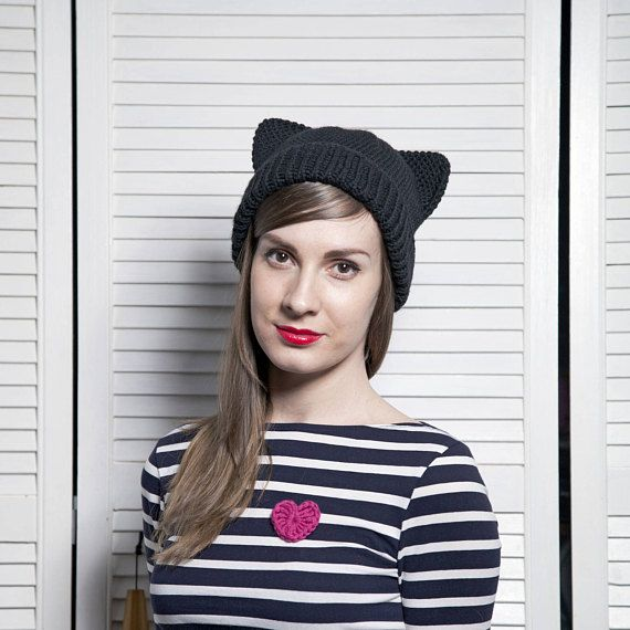 Black Pussy Cat Hat with Ears, Crochet Animal Hat, Knit Bonnet, Warm Cat Hat, Knitted merino wool hats for Girls Women, Present for Her