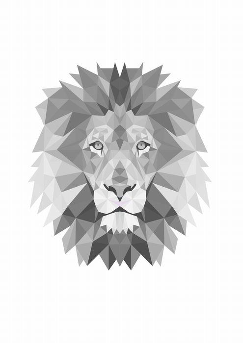 Poster - Geometrische leeuw in zwart grijs en wit