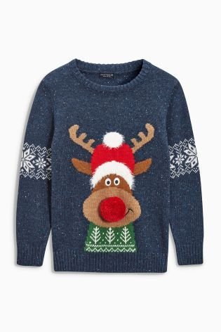 Buy Navy Christmas Reindeer Jumper (3-16yrs) from the Next UK online shop