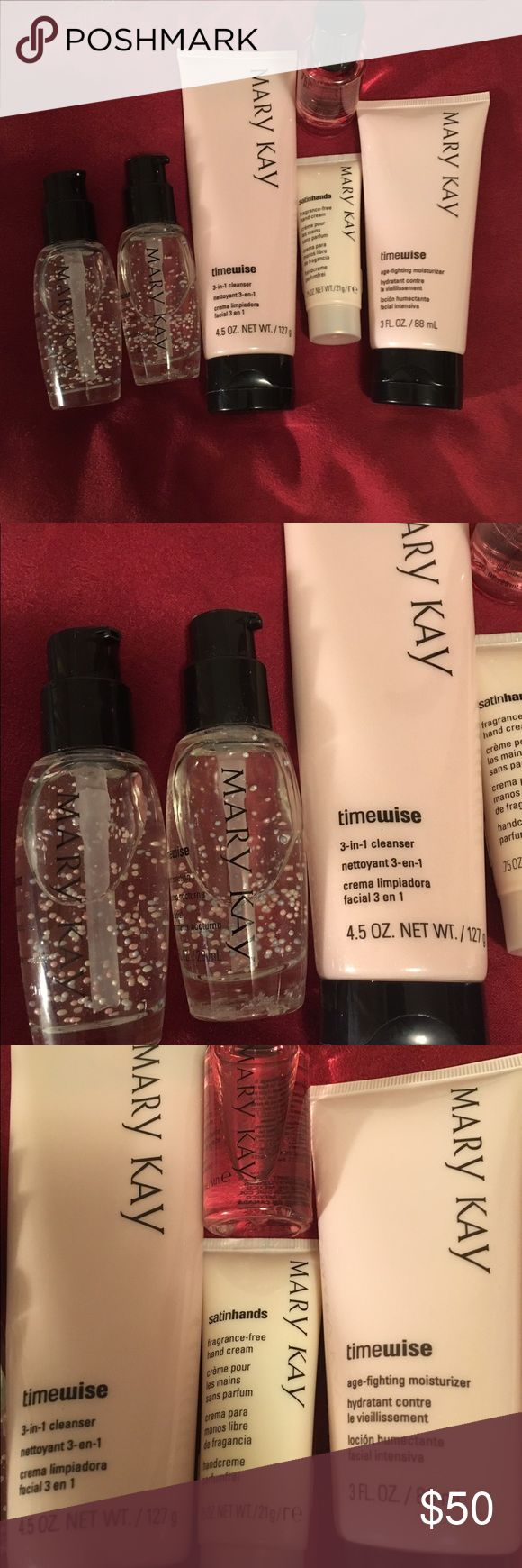 Mary Kay Timewise Bought it used it once, didn't like it, had a bit of allergy to it.                                                            1 timewise: age fighting moisturizer 3 FL. Oz.               1 -Mary Kay timewise 3- in-1 cleanser 4.5 oz.             1 - .75 oz satinhands fragrance free                         2 - Mary Kay timewise night solution 1oz                  Missing the lid covers.                                           1 Mary Kay makeup remover Mary Kay Other