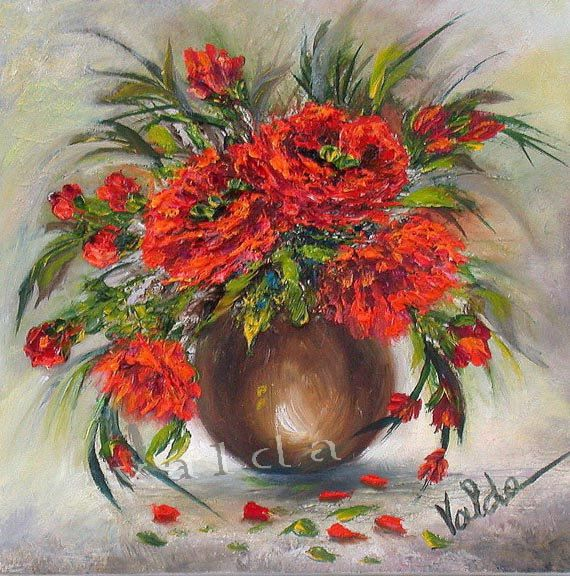 Red Poppies. 5x5x5/8  splash of red colors  great by valdasfineart