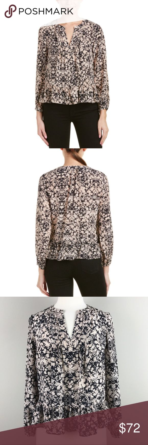 "{Rebecca Taylor} Pot Paisley Ruffle Silk Top Fabric Content: 100% silk. - V-Neck - Pintuck pleated front detailing - Single button cuffs - Ruffle hem - Pullover style - Color/pattern: ecru and black  Armpit to Armpit: 19"" Length: 22.5"", shoulder to hem, Armpit to Hem: 13"" Shoulders: 14.75"" Sleeve Length: 21.5"", Armpit to Cuff: 16"" Dry clean * Condition: Excellent used condition. Material/Care tag has been removed.  **B8 Rebecca Taylor Tops Blouses"