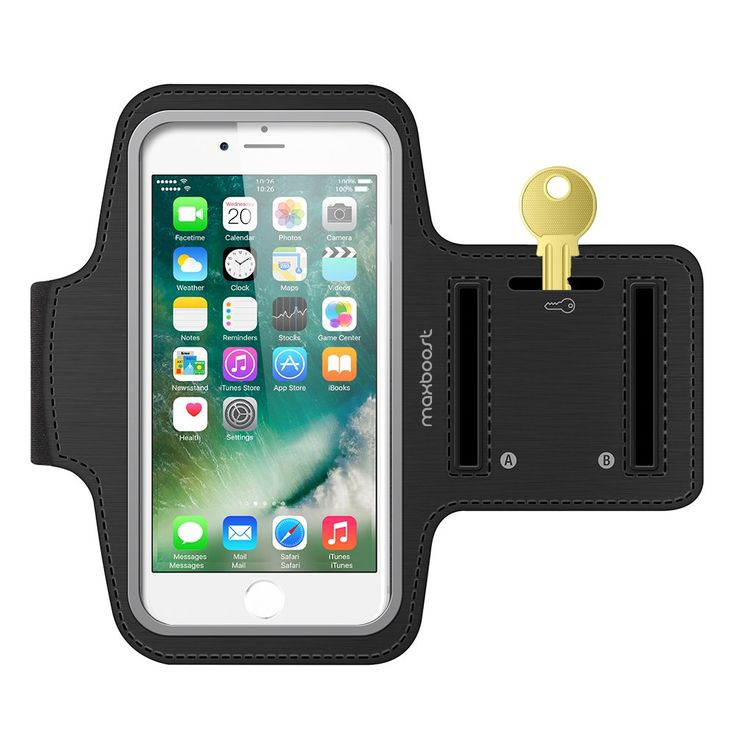 Maxboost Armband [Original] For Small Cellphone, iPhone x , iPhone 7, iPhone 6 6S SE 5s 5 5c, Galaxy s8 S7 S6, HTC One A9, LG,Nokia; Universal Exercise Running Pouch Key Holder +Fit Most Case -Black. [Accommodates Most Smaller Phone up to 5.85-inch diagonally and recommended phone screen Size up to 5-inch] Maxboost Armband is made to fit standard size of cellphone, iPhone x, iPhone 7, iPhone 6s, iPhone 6, Galaxy s8, s7, s6, Google Pixel and their protective slim case. Common case brands…